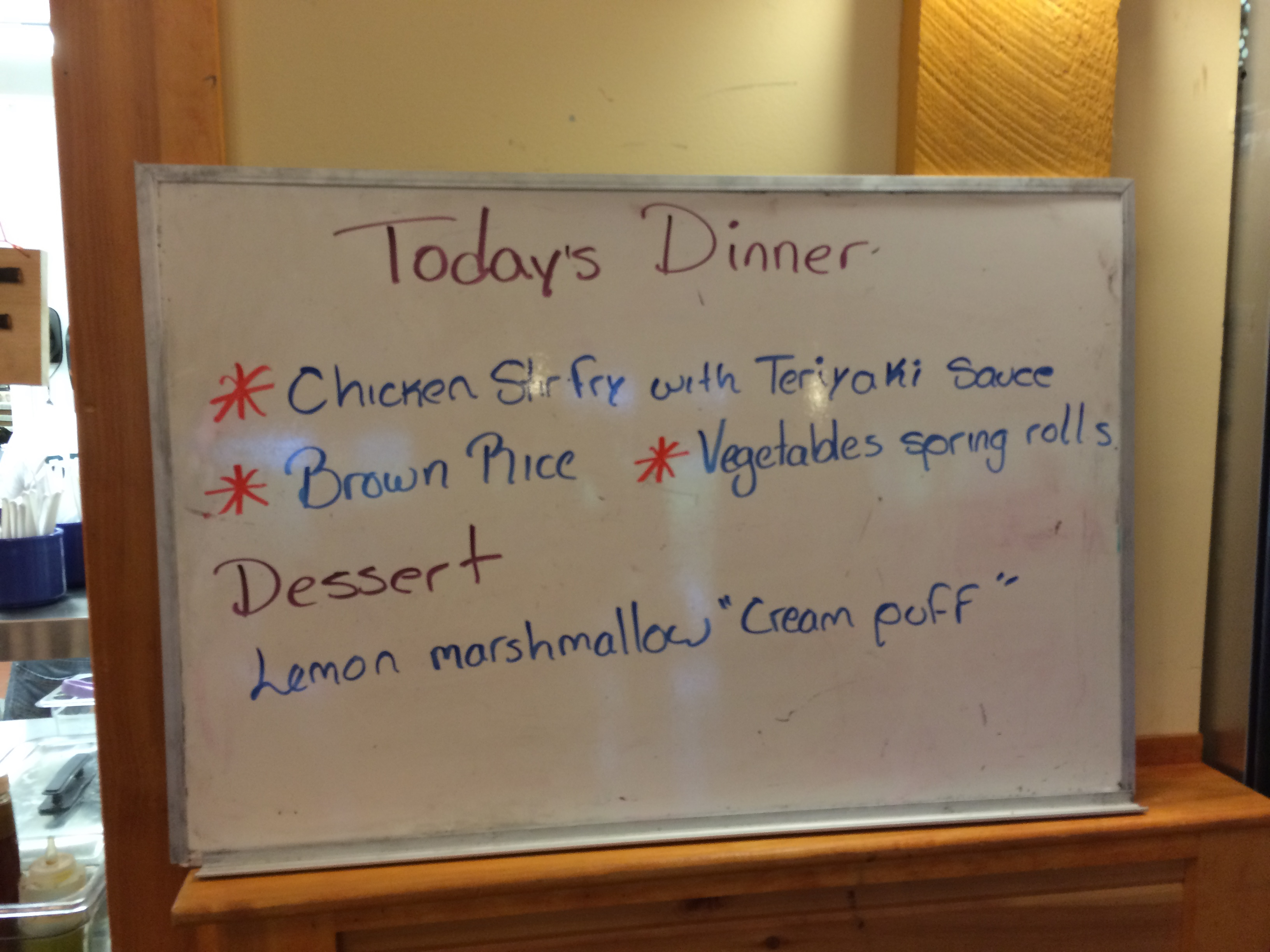 Dinner menu at allergy friendly summer camp